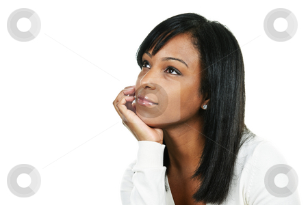 Young woman thinking stock photo, Thoughtful black woman looking up portrait isolated on white background by Elena Elisseeva
