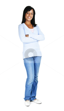 Confident young woman stock photo, Confident black woman with arms crossed standing isolated on white background by Elena Elisseeva