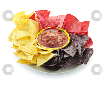 Tortilla chips and salsa stock photo, Bowl of salsa with colorful tortilla chips isolated on white background by Elena Elisseeva