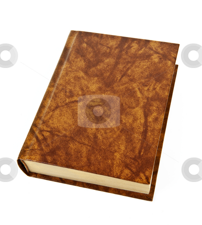 Blank hardcover book stock photo, Old blank hardcover leather bound book isolated on white background by Elena Elisseeva