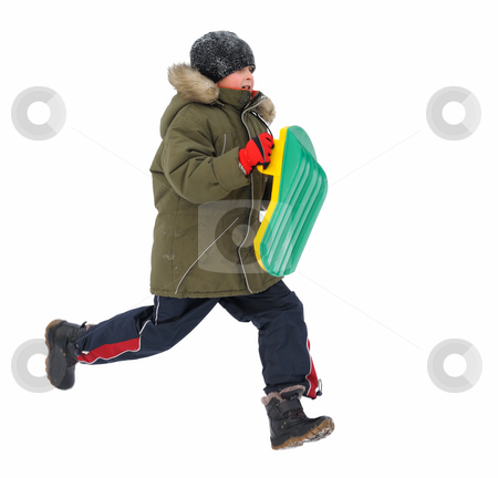 Winter Games Children stock photo, Winter games children - boy, running with sleds, isolated by Vladimir Blinov