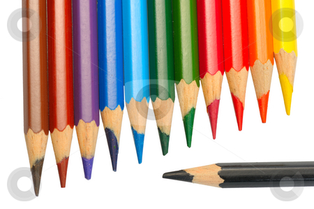 Colored pencils stock photo, A set of colored pencils on a white background, isolated by Vladimir Blinov