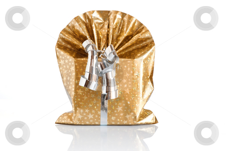 Gift box  stock photo, Golden gift box with silver ribbon isolated on white background with clipping path by ANTONIO SCARPI