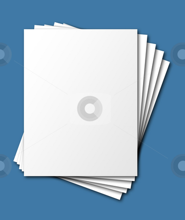 Fanned papers, isolated stock photo, Fanned, stacked blank papers, isolated with shadow and clipping path by Christian Delbert