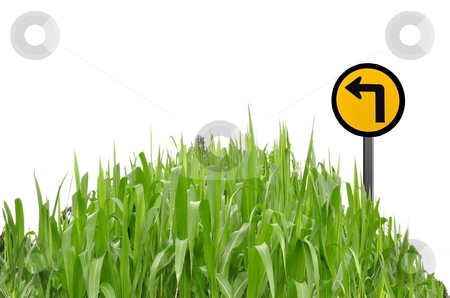 Green grass and traffic symbol as white isolate background stock photo, Green grass and traffic symbol as white isolate background by Udomsak Insome