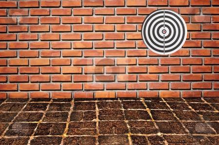 Goal on brickwall pattern stock photo, Goal on brickwall pattern by Udomsak Insome