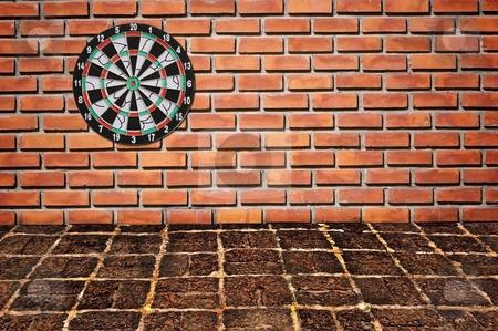 Sucess target on brickwall stock photo, Sucess target on brickwall by Udomsak Insome