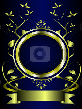 A Blue And Gold Floral Design