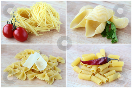 Different varieties of Italian pasta  stock photo, Different varieties of Italian pasta on a wooden board  collage by Olga Kriger