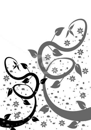 A stylized black and white abstract floral design stock vector clipart, A black and white floral background with black and grey vines on a white background by Mike Price