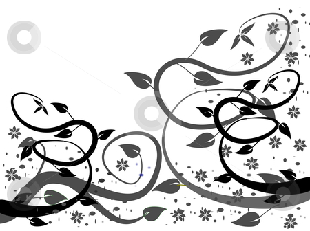 A stylized black and white abstract floral design stock vector clipart, A black and white abstract floral vector design with winding leafy tendrils on a white ground by Mike Price