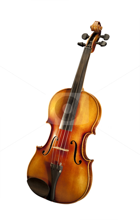 Violin, isolated stock photo, Violin on white, isolated with clipping path by Christian Delbert