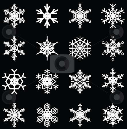 Snowflakes set stock vector clipart, Snowflakes illustrations, for christmas themed design elements. by Mtkang