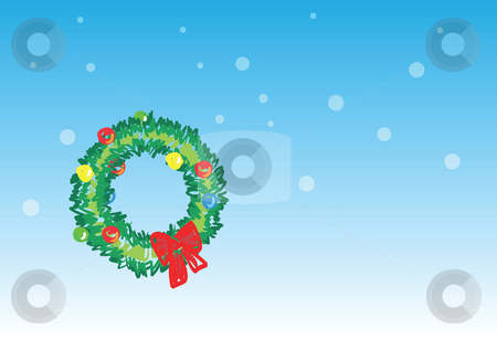 Christmas wreath - 5 of 6 christmas cards stock photo, Christmas wreath on snowing background, christmas greetings. 1 of the 6 same styled christmas cards i draw, please check the rest in my profile. by Mtkang
