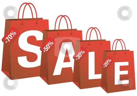 Sale with red shopping bags, vector stock vector
