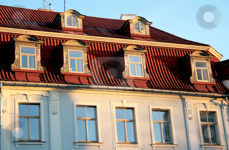 Windows and roof stock photo, The red roof and windows in old town Riga, Latvia by Tatjana Keisa