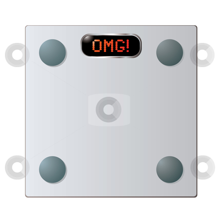 Glass bathroom scales stock vector clipart, Transparent Glass bathroom scales with omg word on face by Michael Travers