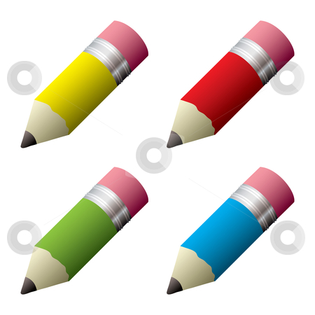 Pencil collection stock vector clipart, Collection of colored pencils with grey lead and eraser by Michael Travers