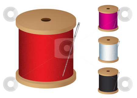 Cotton reel stock vector clipart, Cotton reel collection with sewing needle and colored thread by Michael Travers