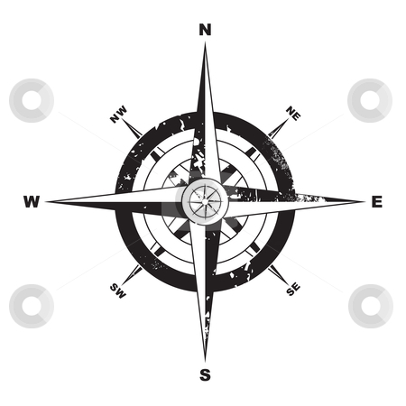 Grunge compass stock vector clipart, Black and white grunge compass with navigation directions by Michael Travers