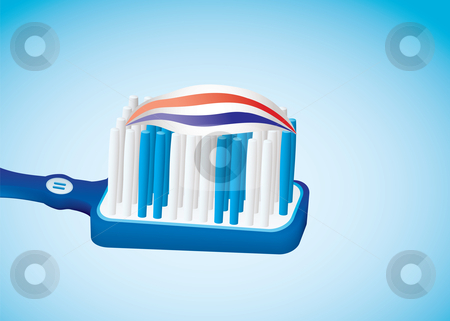 Toothbrush stock vector clipart, Illustrated blue toothbrush with toothpaste and red white stripes by Michael Travers