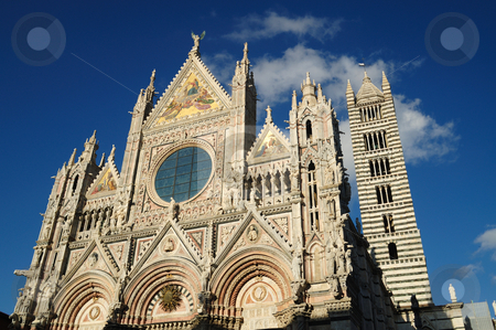 The facade of the Cathefral of Siena stock photo, The Cathedral of Siena is one of the most beautiful example of Gothic architecture in Italy by Maurizio Martini