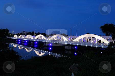 Napier Bridge stock photo, Colorfully and beautifully lit bridge during the night by Arvind Balaraman