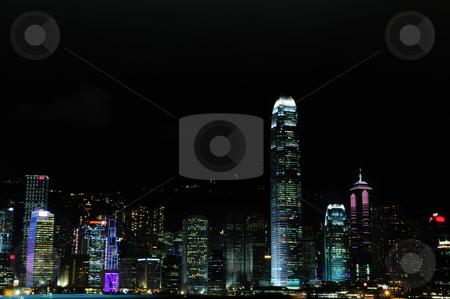 Hongkong  stock photo, Hong Kong skyline during night with spectatular lights by Arvind Balaraman