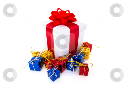 Gift boxes stock photo, Colorful gift boxes isolated on the white background by Mariusz Blach