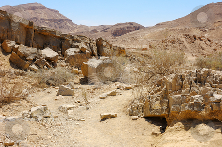 Makhtesh Ramon stock photo, Stones of Makhtesh Ramon, unique crater in Israel by Vladimir Blinov