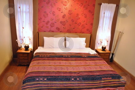 Bed room stock photo, Bed room as night view by Udomsak Insome