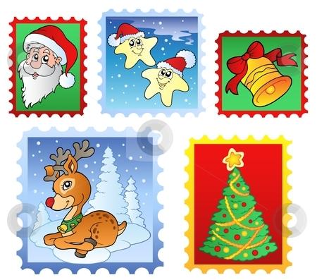Various Christmas post stamps 1 stock vector clipart, Various Christmas post stamps 1 - vector illustration. by Klara Viskova
