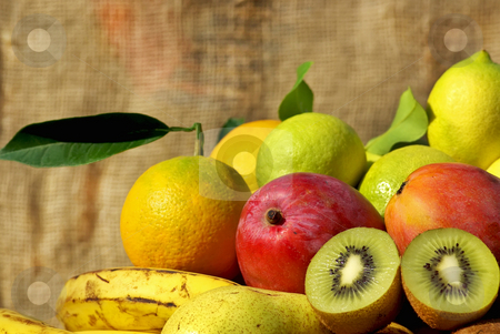 Colored fruits . stock photo, Colored fruits in basket. by Inacio Pires