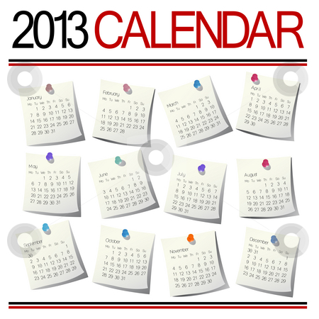 2013 Calendar stock photo, 2013 Calendar on white sheets by Richard Laschon