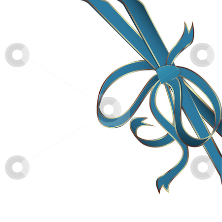 Blue corner ribbon stock photo, Decorative blue corner ribbon with golden stripes by Richard Laschon