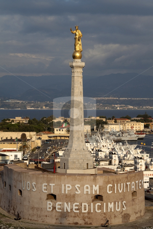Tower of Madonna stock photo, The statue of Madonna in the port of Messina, Italy by Kevin Tietz