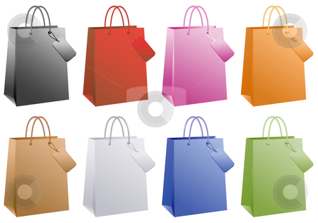 Colorful shopping bags, vector stock vector clipart, Shopping bags, basic colors set, vector by Beata Kraus