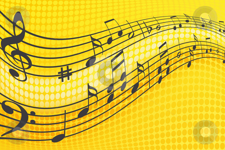 Music Notes stock photo, Wave of musical notes in yellow background. by Dejan Lazarevic