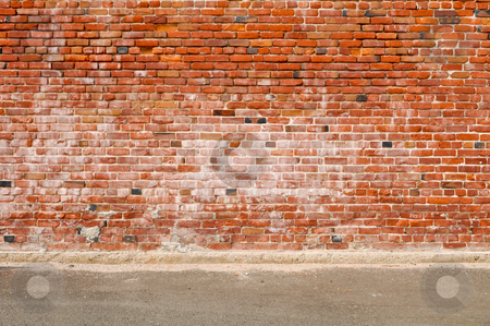Old Brick Wall And Road Street Stock Photo