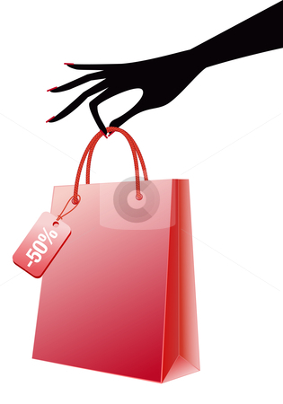 Hand with red shopping bag, vector stock vector clipart, Female hand holding shopping bag, vector by Beata Kraus