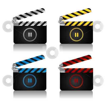 Clapper board set stock photo, A set of movie clapper boards with pause icon for web by Richard Laschon