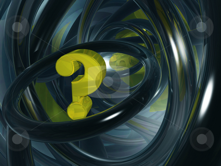Quest stock photo, Question mark in futuristic space - 3d illustration by J?