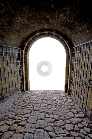 Exit stock photo, Brick tunnel with gate. Isolated exit. by Dejan Lazarevic