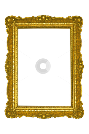 Golden frame stock photo, Golden plated  picture frame isolated on white. by Dejan Lazarevic
