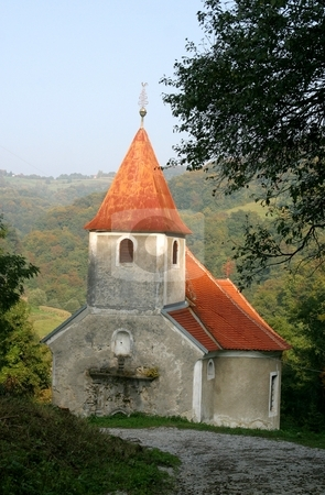 Beautiful small rural church in Croatia  stock photo,  by Zvonimir Atletic