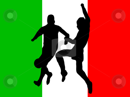 Footballers in silhouette  stock vector clipart, Footballers in silhouette against a green white and red italian flag design by Mike Price