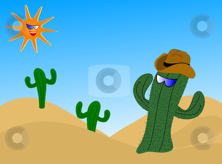 Cartoon Cactus Illustration stock vector clipart, A cartoon cactus wearing a cowboy hat with a laughing sun wearing sunglasses by Mike Price