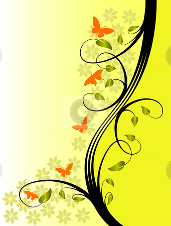A yellow floral background  stock vector clipart, A yellow floral background with gold leaves on a lighter  graduated background by Mike Price