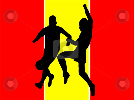 Footballers in silhouette stock vector clipart, Footballers in silhouette against a red and yellow spanish flag design by Mike Price