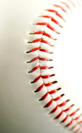 Base ball close up stock photo, White leather base ball with red stitching by Henrik Lehnerer